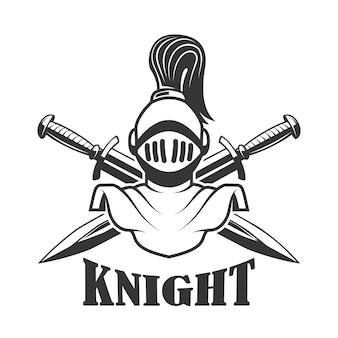 Modello di emblema con elmo da cavaliere medievale. elemento per logo, etichetta, segno. illustrazione