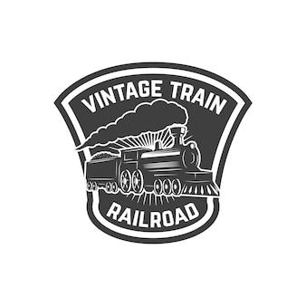 Modello di emblema con treno retrò. ferrovia. locomotiva. elemento per logo, etichetta, emblema, segno. illustrazione