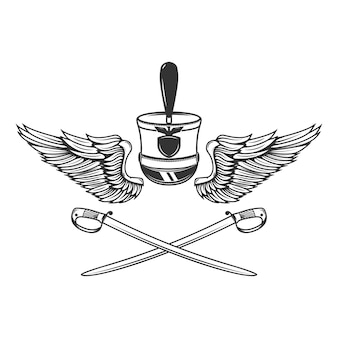 Modello di emblema con sciabole, ali, cappello da ussaro.