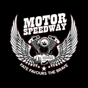 Modello di emblema con motore motociclistico alato