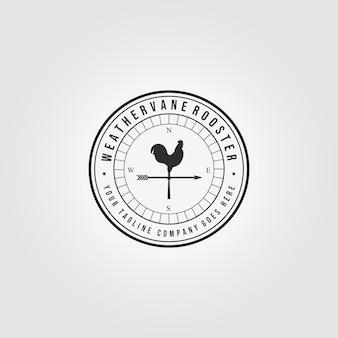 Emblema weathervane rooster logo vintage vector illustration design icon