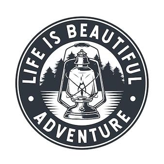 Emblema selvaggio campeggio lampada a cherosene lanterna di paraffina