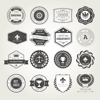 Set di emblemi, distintivi e francobolli - premi e design di sigilli