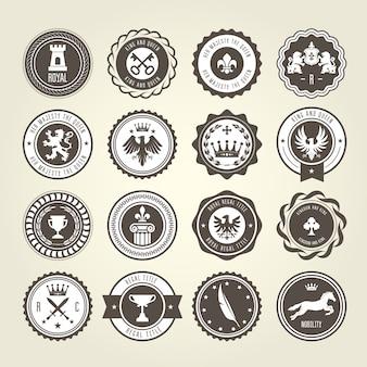 Emblemi, blasoni e distintivi araldici - etichette rotonde
