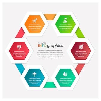Modello di infografica aziendale professionale esagonale in rilievo
