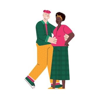 Abbracciando coppia di personaggi dei cartoni animati di giovane uomo e donna incinta