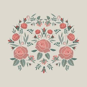 Composizione ricamata con rose fiori, boccioli e foglie. ricamo a punto pieno motivo floreale su fondo beige. modello alla moda di linea folk per vestiti, abiti, decorazioni.