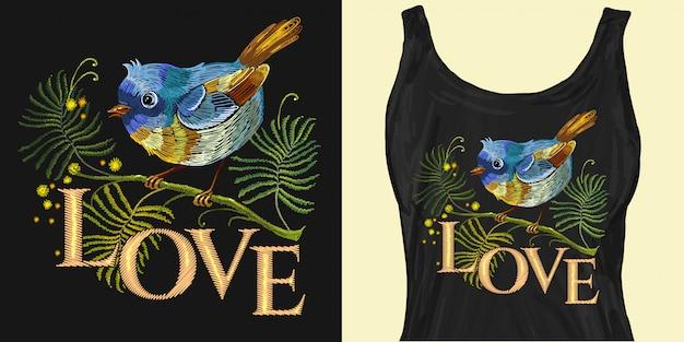 Ricamo uccellino sul ramo. slogan d'amore