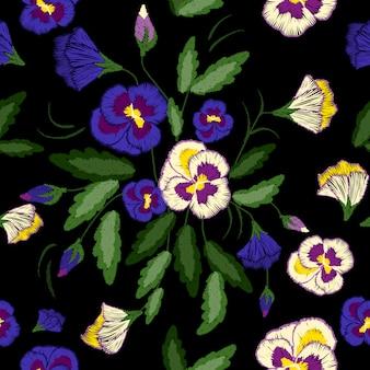 Pansies da ricamo, motivo floreale senza soluzione di continuità, ornamento folk tradizionale con fiori su sfondo nero per la progettazione di abiti.