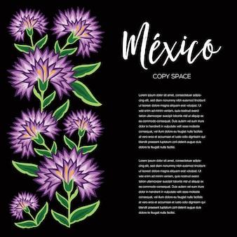 Stile di ricamo da oaxaca messico - composizione floreale nello spazio della copia