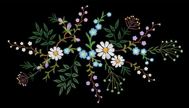Ricamo tendenza floreale motivi floreali piccoli rami erba margherita