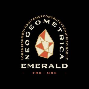 T-shirt geometrica con diamante smeraldo distintivo vintage emblema t-shirt merch logo vettoriale icona illustrazione