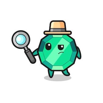 Il personaggio detective della pietra preziosa smeraldo sta analizzando un caso, un design in stile carino per maglietta, adesivo, elemento logo