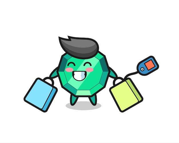 Fumetto della mascotte della pietra preziosa smeraldo che tiene una borsa della spesa, design in stile carino per maglietta, adesivo, elemento logo