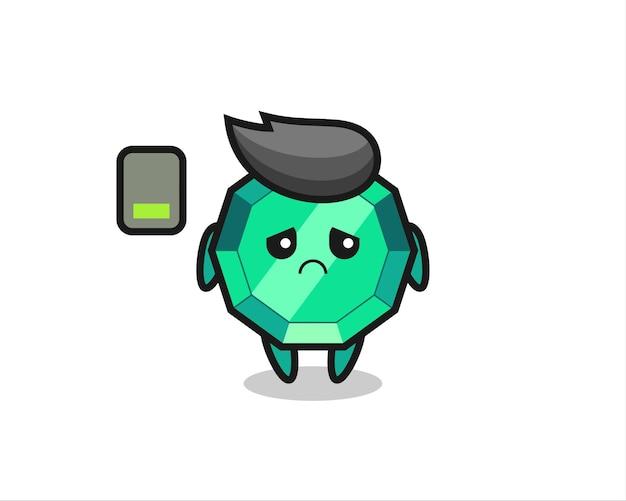 Personaggio mascotte della pietra preziosa smeraldo che fa un gesto stanco, design in stile carino per maglietta, adesivo, elemento logo