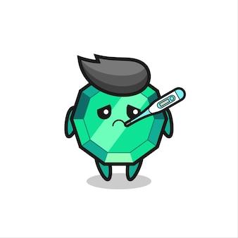 Personaggio mascotte di pietre preziose smeraldo con febbre, design in stile carino per maglietta, adesivo, elemento logo