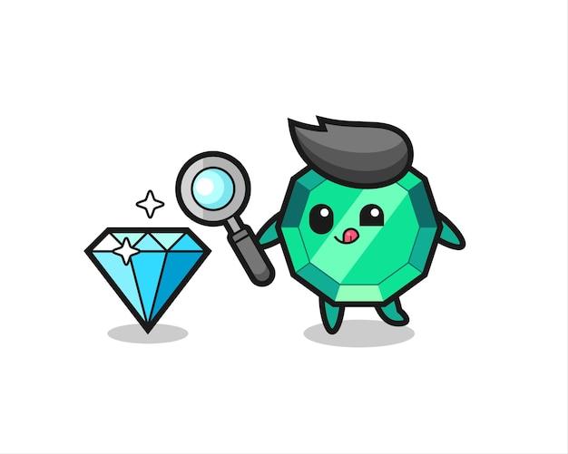 La mascotte della pietra preziosa smeraldo sta controllando l'autenticità di un diamante, un design in stile carino per maglietta, adesivo, elemento logo