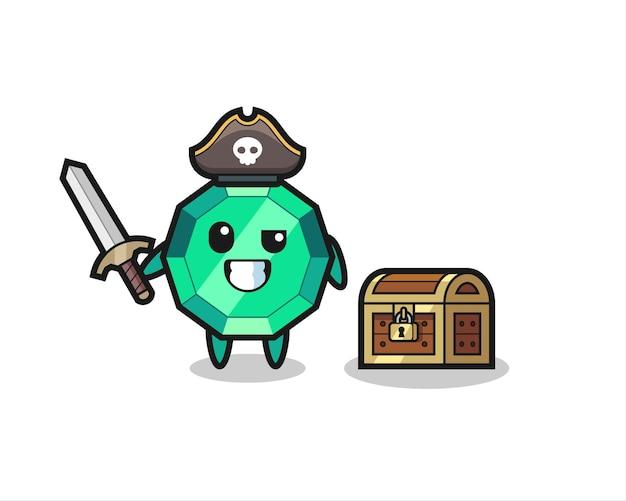 Il personaggio pirata della pietra preziosa smeraldo che tiene la spada accanto a una scatola del tesoro, design in stile carino per t-shirt, adesivo, elemento logo