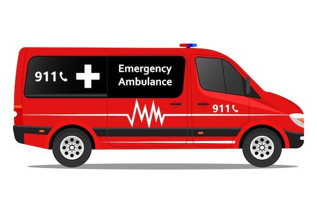 Automobile medica speciale dell'illustrazione del furgone dell'ambulanza di emergenza