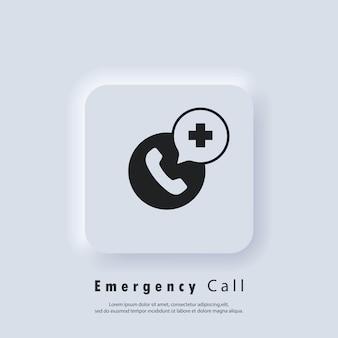 Icona di chiamata di emergenza. chiamata al servizio di assistenza medica. telefonata in ospedale. servizio di assistenza telefonica di emergenza e salutare. vettore eps 10. pulsante web dell'interfaccia utente bianco neumorphic ui ux. neumorfismo