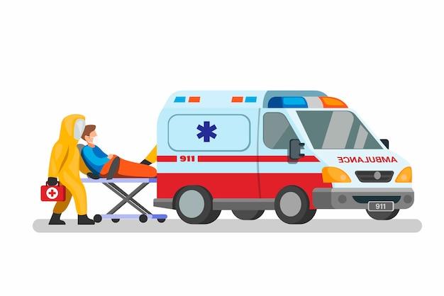Auto di emergenza con il medico indossa tuta ignifuga che trasporta il paziente al concetto di ospedale nell'illustrazione del fumetto