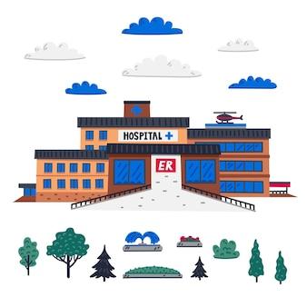 Pronto soccorso dell'edificio principale dell'ospedale ed elementi