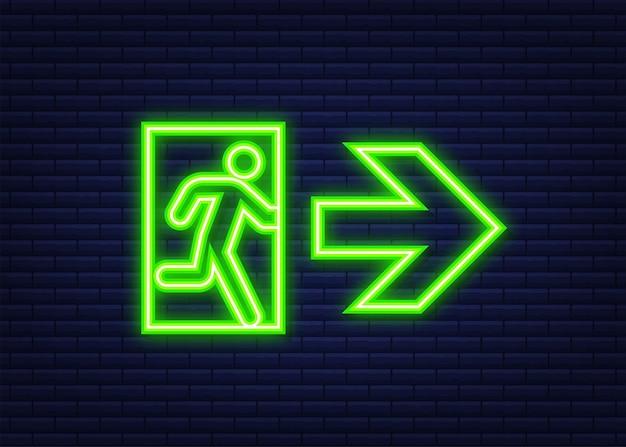 Segnale di uscita di emergenza. simbolo di protezione. icona del fuoco. stile neon. illustrazione vettoriale.