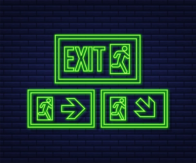 Segnale di uscita di emergenza. simbolo di protezione. icona al neon di fuoco