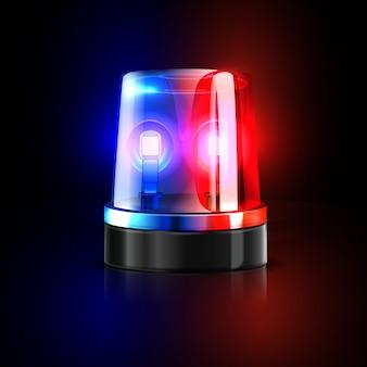 Emergenza lampeggiante della sirena della polizia