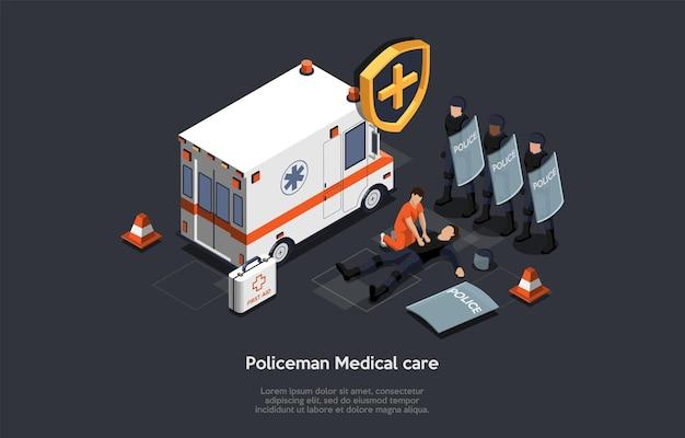 Il tecnico medico di emergenza salva la vita del poliziotto durante le azioni di protesta di massa.