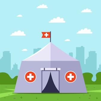 Tenda medica di emergenza. fornire soccorso in caso di calamità. illustrazione.