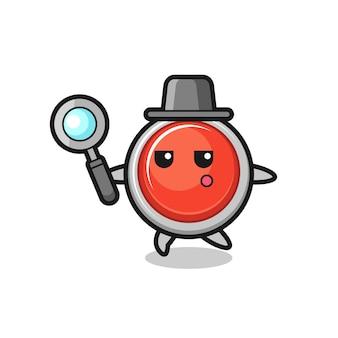 Personaggio dei cartoni animati del pulsante antipanico di emergenza che cerca con una lente di ingrandimento, design carino