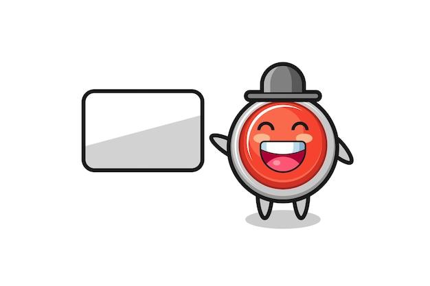 Illustrazione del fumetto del pulsante antipanico di emergenza che fa una presentazione, design carino