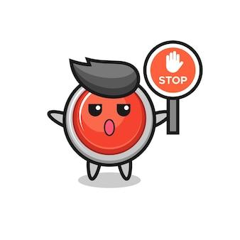 Illustrazione del carattere del pulsante antipanico di emergenza con un segnale di stop, design carino