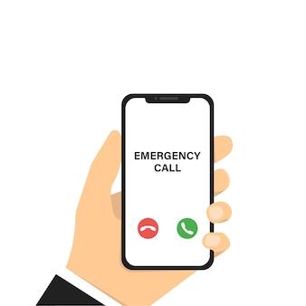Chiamata di emergenza. mano che tiene il telefono. smartphone vettoriale con chiamate di emergenza. mockup di telefono cellulare. tecnologia smartphone.