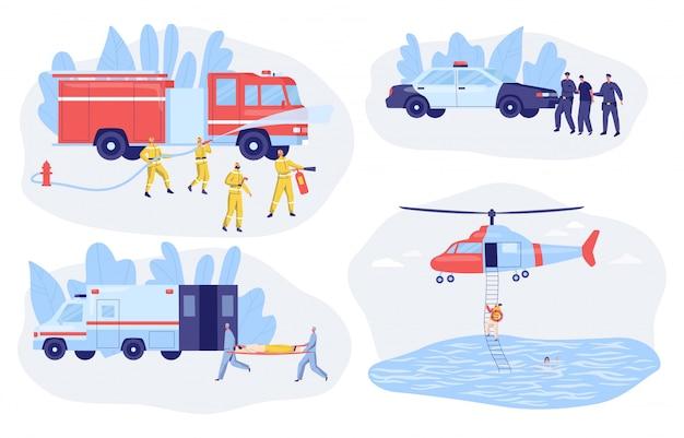 Polizia di servizio di emergenza, ambulanza, vigili del fuoco e illustrazione di vettore di salvataggio