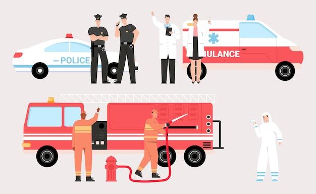 Le squadre di servizio di emergenza hanno impostato isolato