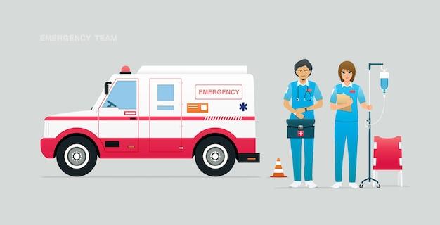 Squadra di emergenza con veicoli e attrezzatura di primo soccorso.