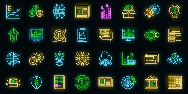 Set di icone del mercato emergente neon vettoriale
