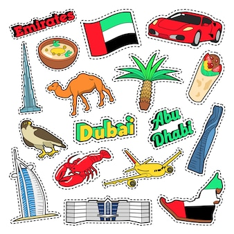 Elementi di viaggio emirates con architettura e palme. doodle di vettore
