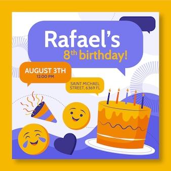 Modello di invito compleanno emoji