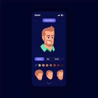 Modello di vettore dell'interfaccia dello smartphone del generatore di emoji. layout di progettazione della pagina dell'app mobile. funzionalità popolari nei social media. schermata iniziale di bell'aspetto. interfaccia utente piatta per l'applicazione. display del telefono
