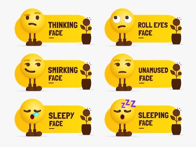 Caratteri emoji in piedi con etichetta di testo, set di sentimenti contrastanti