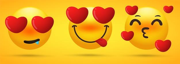 La collezione di emoji che mostra l'emozione si sta innamorando, ossessionata Vettore Premium