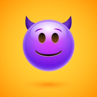 Emoji crtoon diavolo brutta faccia arrabbiato o felice emoticon uomo spaventoso.