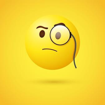 Faccina emoji con monocolo o emoticon 3d con lente di ingrandimento