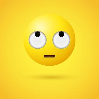 Emoji face con rolling eyes o emoticon 3d che osserva in su