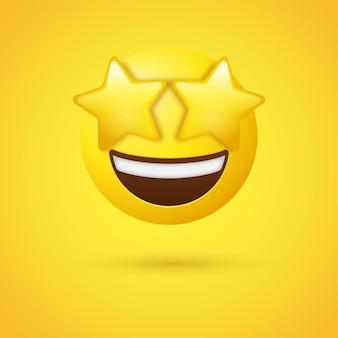 Emoji faccia con occhi stellati o emoticon colpito da una stella eccitata ex