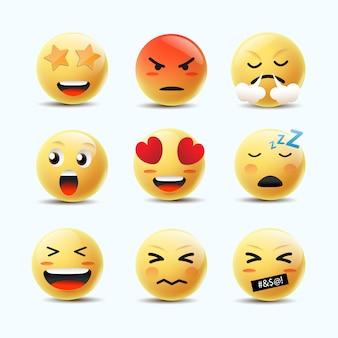 Emoji feeling faces vector. elementi di chat di comunicazione in faccia palla 3d bolla gialla.