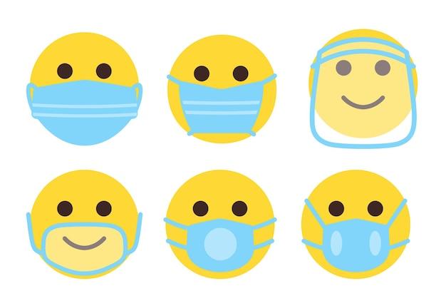 Emoji icone piane impostate. facce gialle carine con maschera medica chirurgica protettiva